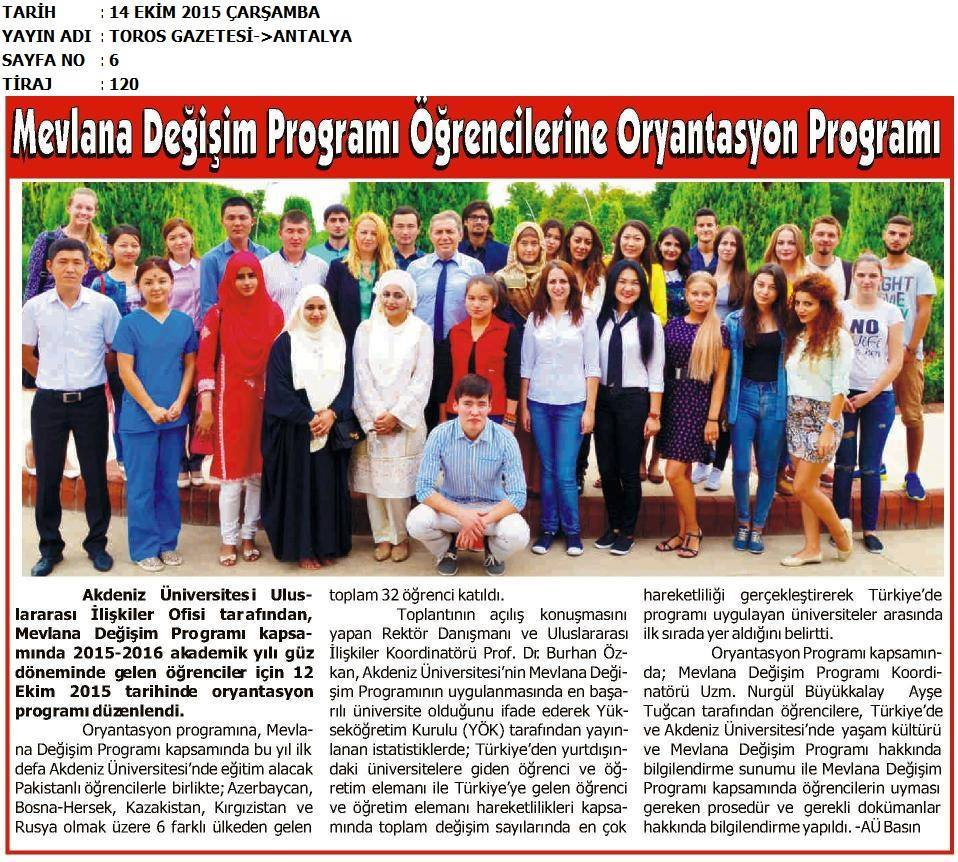 Newspaper article about our students In Ak-Deniz university, Antalya